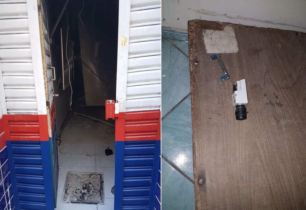 Portão foi arrombado e câmeras destruídas: empresa de segurança foi acionada (Foto: Divulgação/Polícia Militar )