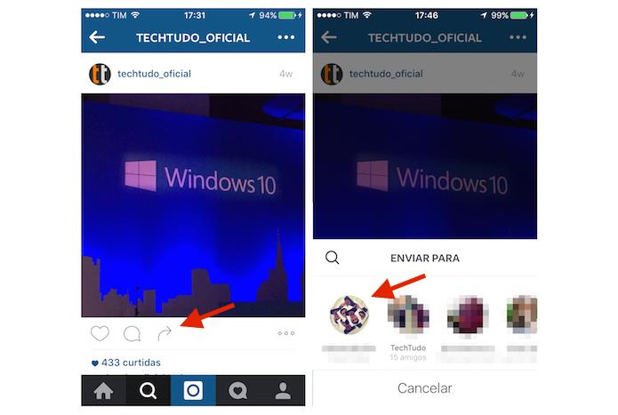 Iniciando o compartilhamento de uma foto do feed com um amigo via mensagem direta no Instagram (Foto: Reprodução/Marvin Costa)