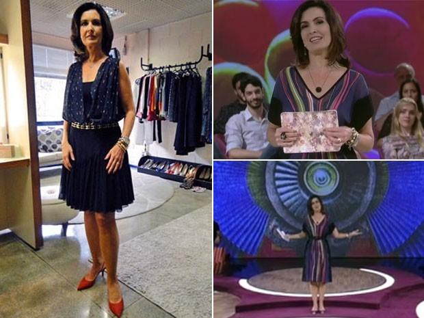 Vestido preto com listras coloridas e saia preta fecham a lista da semana (Foto: Divulgação/TV Globo)