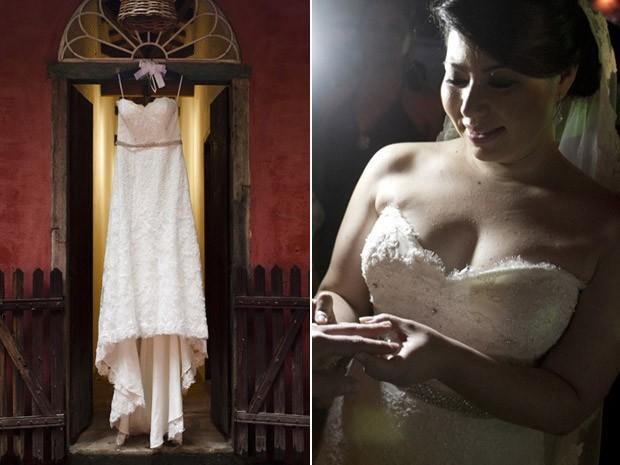 A brasileira Melissa Dezan com o vestido de noiva que comprou em Miami (Foto: Pangeia de Dois)