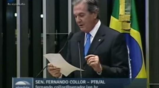 O jornalista: Fernando Collor, senador (Foto: Reprodução / YouTube)
