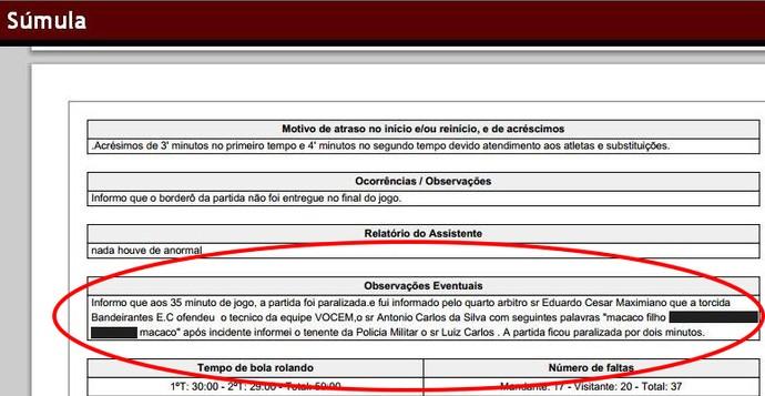 Súmula registra ato de racismo em partida da Segundona paulista (Foto: Reprodução/ Site FPF)