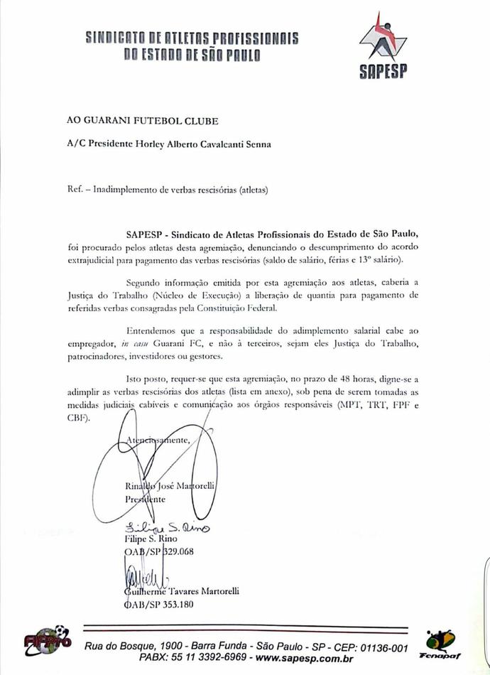 Extrajudicial Notificação Guarani Bugre (Foto: Divulgação / Sindicato dos Atletas)