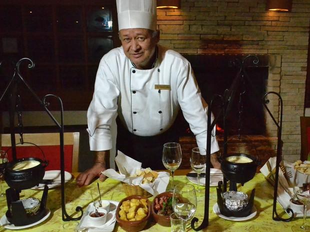 Chef Mario Celso Fondue Caipira Campos do Jordão (Foto: Filipe Rodrigues/G1)