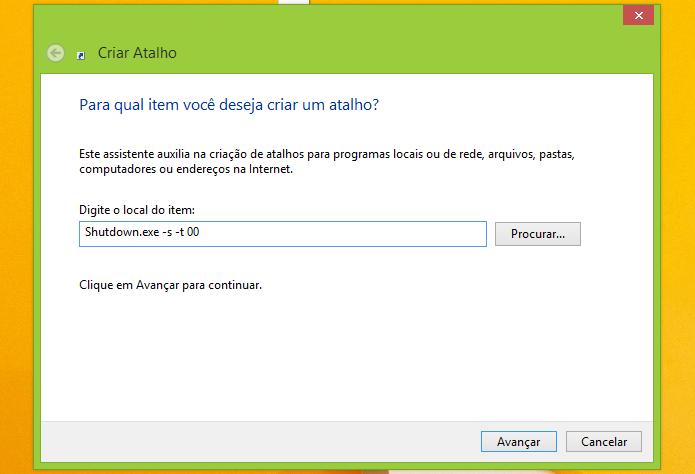 Colocando o comando que desliga o Windows (Foto: Reprodução/Edivaldo Brito)