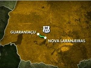 Acidente aconteceu na BR-277 entre Guaraniaçu e Nova Laranjeiras (Foto: Arte / RPCTV)