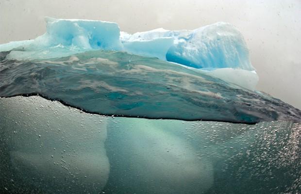 Fotógrafo mergulhou no oceano gelado para fotografar iceberg (Foto: Divulgação/Daniel Botelho)