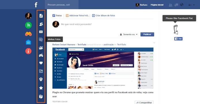 Facebook Flat substitui menu com texto para painel com ícones (Foto: Reprodução/Barbara Mannara)