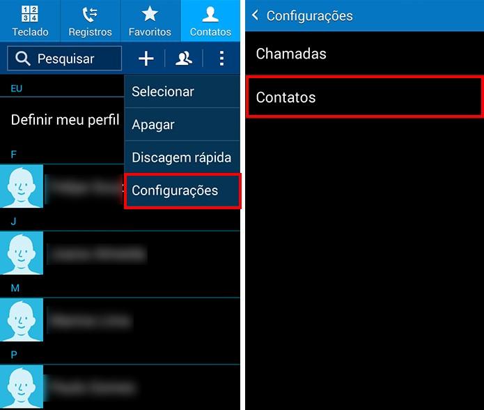 Acesse as configurações de contatos (Foto: Reprodução/Paulo Alves)