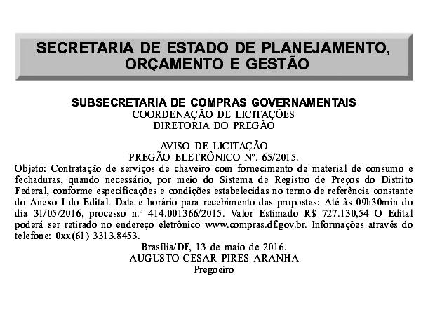 Publicação do Diário Oficial do DF com a licitação da SEPLAG sobre a contratação de chaveiros. (Foto: Divulgação) (Foto: Divulgação)