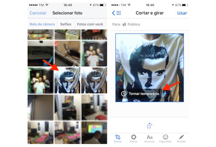 Acessando a ferramenta para determinar uma foto temporária no perfil do Facebook pelo iPhone (Foto: Reprodução/Marvin Costa)