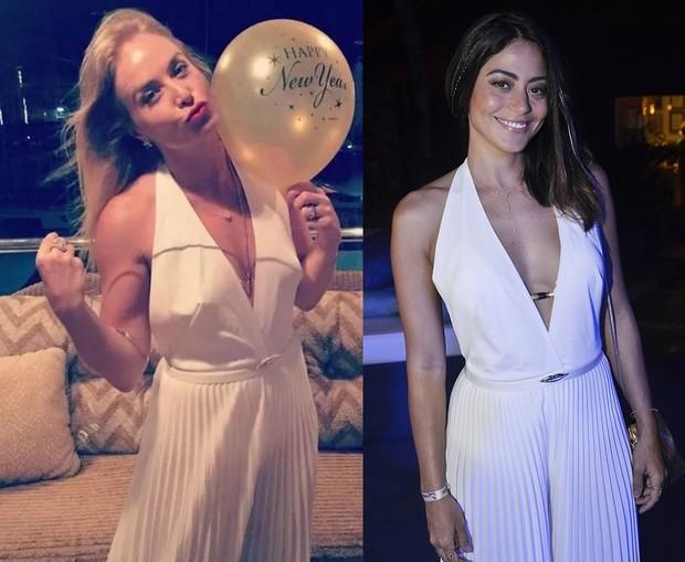 Angélica e Carol Castro com o mesmo vestido na noite de Réveillon (Foto: Instagram / Divulgação)