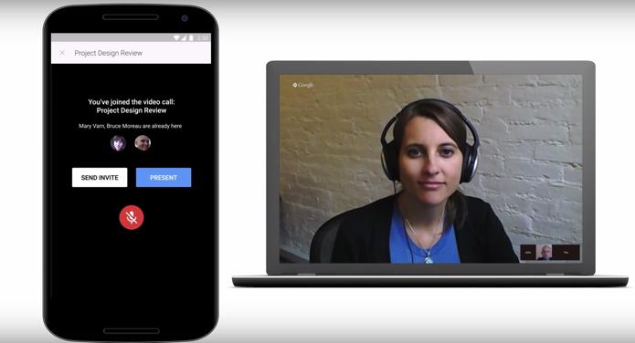 É possível iniciar uma videochamada do Hangouts direto do app de apresentações (Foto: Divulgação)