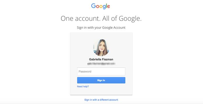 Digite sua conta do Google (Foto: Gabriella Fiszman/ TechTudo)