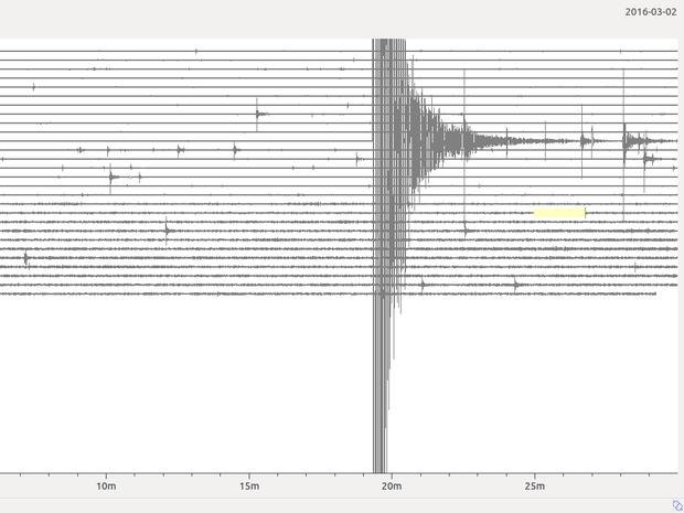 Sismograma desta quarta-feira (2) mostra registro de diversos eventos, inclusive o de maior magnitude (Foto: Divulgação/ LabSis/UFRN)