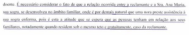 Trecho de sentença do Tribunal Regional do Trabalho sobre pedido de nora para ser indenizada por cuidar da sogra em Brasília (Foto: Tribunal Regional do Trabalho/Reprodução)