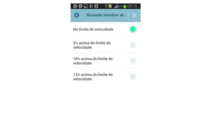 Definindo quando o alerta de limite de velocidade do Waze será emitido no Android (Foto: Reprodução/Marvin Costa)
