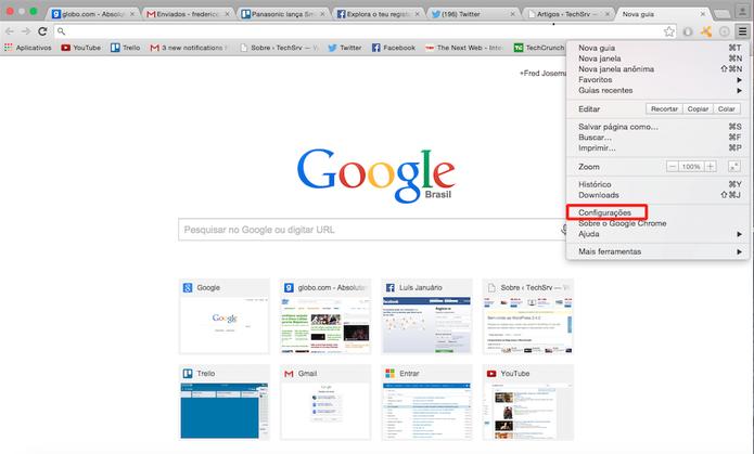 Selecione a opção Configurações para chegar até as extensões do navegador (Foto: Reprodução)