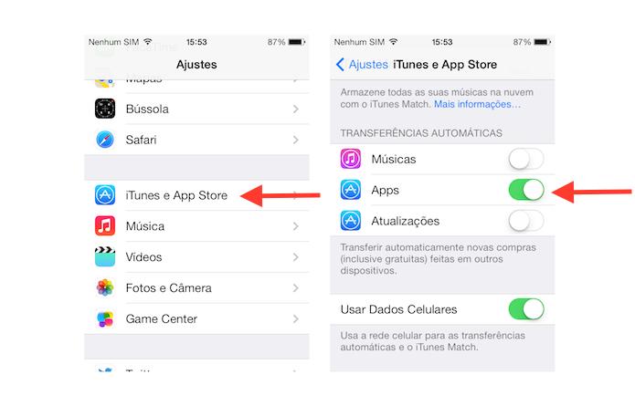 Acessando as configurações da App Store no iPhone para configurar o download automático de aplicativos feitas através de outros dispositivos (Foto: Reprodução/Marvin Costa)