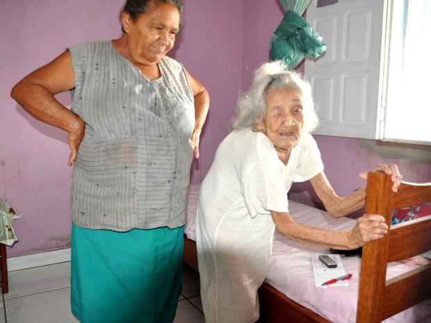 Margarida Alexandrina, de 116 anos. (Foto: Francisco Rocha G1)