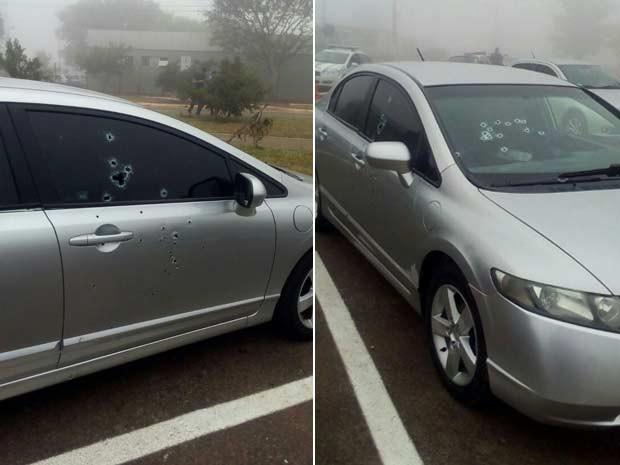 Marcas de tiros em carro de réu de homicídio morto nesta quinta-feira (28) no estacionamento do Fórum de Santa Maria, no Distrito Federal, pouco antes de início do julgamento (Foto: Polícia Militar/Divulgação)