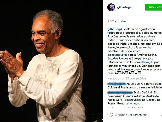 Gilberto Gil agradece preocupação de fãs após ser internado em São Paulo (Foto: Reprodução Instagram)