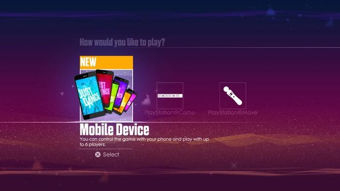 Selecione a opcão Mobile Device para usar o smartphone como controle (Reprodução/Cássio Barbosa)