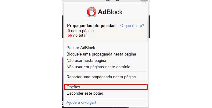 Acesse as opções do AdBlock (Foto: Reprodução/Paulo Alves)