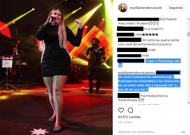 Marília Mendonça responde seguidora (Foto: Reprodução/Instagram)
