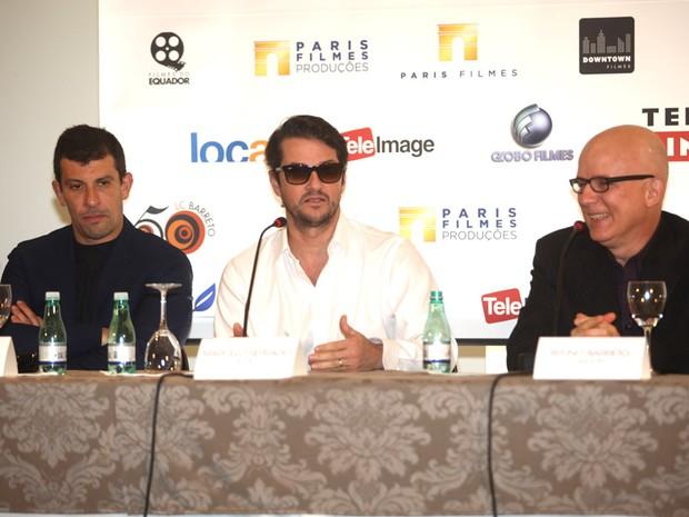 Milhem Cortaz, Marcelo Serrado e Bruno Barreto na coletiva do filme Crô (Foto: Iwi Onodera/EGO)