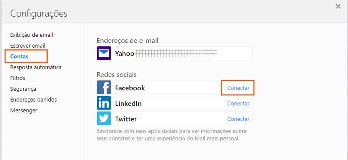 Clique em conectar ao lado do item do Facebook, na categoria de contas do Yahoo Mail (Foto: Reprodução/Barbara Mannara)