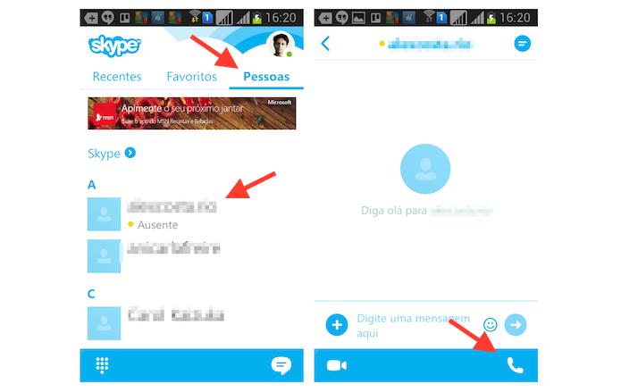 Iniciando uma ligação gratuita no Skype para Android (Foto: Reprodução/Marvin Costa)