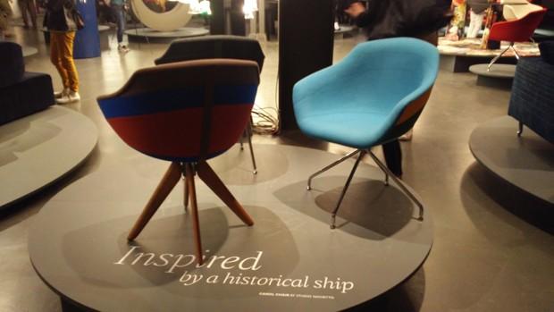 Inspirada em um navio histórico, a cadeira Canal, de Luca Nichetto, ganhou um belo trabalho de costura com diferentes cores de tecido (Foto: Stéphanie Durante/Editora Globo)