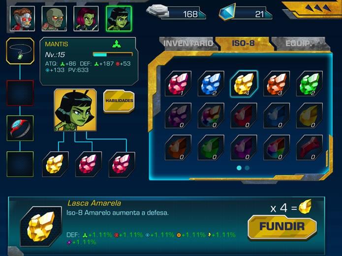 """Clicando na opção """"Personalizar"""" o jogador poderá equipar o personagens com itens, armas e cristais ISO-8 (Foto: Reprodução/Daniel Ribeiro)"""