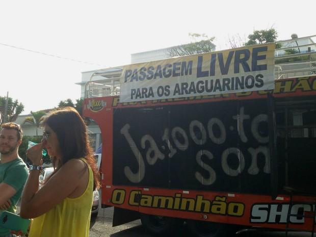 Manifestação contra pedágio em Araguari (Foto: José Alexandre/Arquivo Pessoal)
