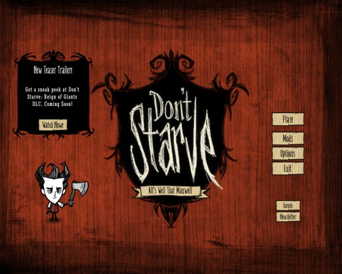Dont Starve: Menus objetivos são encontrados no game (Foto: Reprodução/Paulo Vasconcellos)