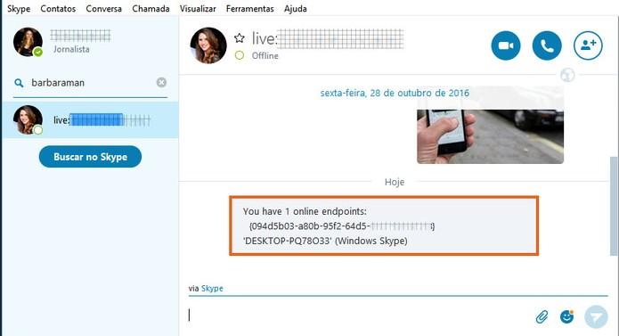 Confira a listagem de dispositivos logados na sua conta Skype (Foto: Reprodução/Barbara Mannara)