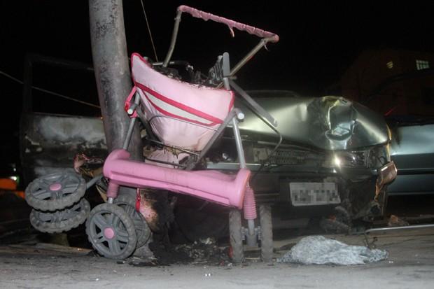 Local onde o bebê de três meses morreu atropelada por   um carro desgovernado (Foto: Jadson Marques/Estadão Conteúdo)