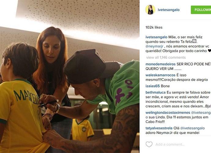 Ivete levou o filho Marcelinho para tietar Neymar e mostrou nas redes sociais (Foto: Arquivo Pessoal)