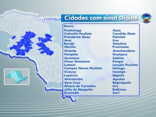 Cidades com sinal digital Bauru  (Foto: arte/ G1 )