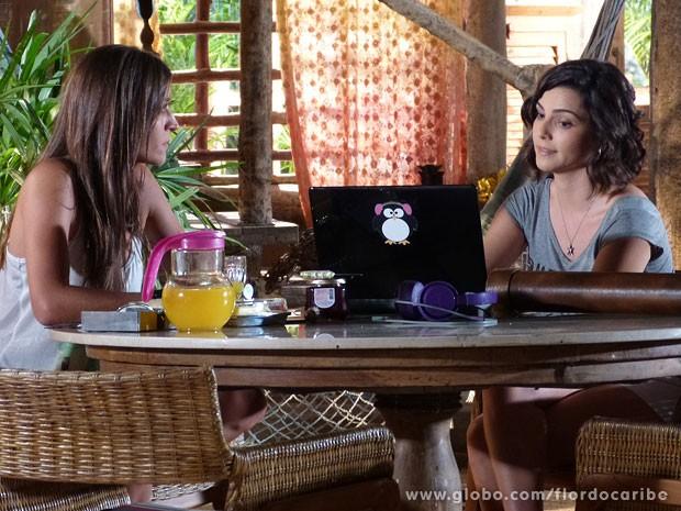 Mila garante que Lino está apaixonado por Taís (Foto: Flor do Caribe / TV Globo)