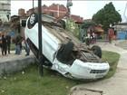 Bandidos roubam veículo e capotam durante a fuga em São Luís