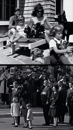 CAMELOT Kennedy e Jacqueline com os filhos, John e Caroline (no alto), e o funeral do presidente. Os Kennedys transformaram-se numa espécie de realeza, apelidada com o nome da lendária corte do rei Arthur (Foto: Cecil Stoughton/AP/White House e AP)