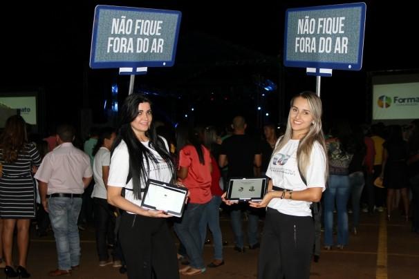 Ação da TV Digital marcou presença no show de Anderson Freire (Foto: TV Anhanguera)