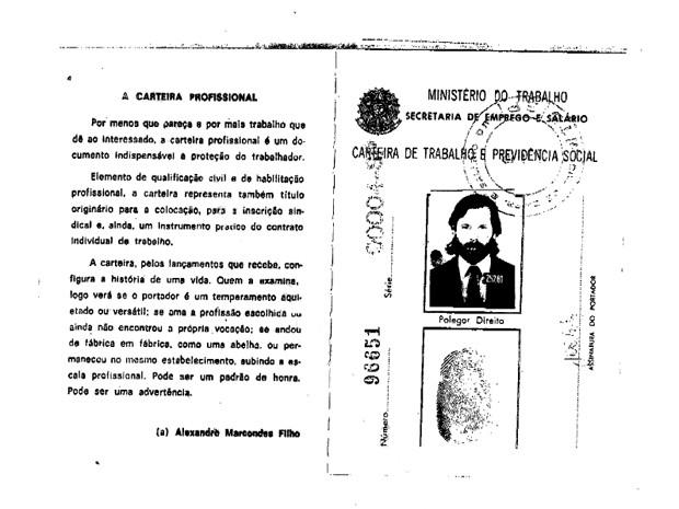 Reprodução de páginas da carteira de trabalho de José Dirceu no andamento processual eletrônico do STF (Foto: Reprodução)