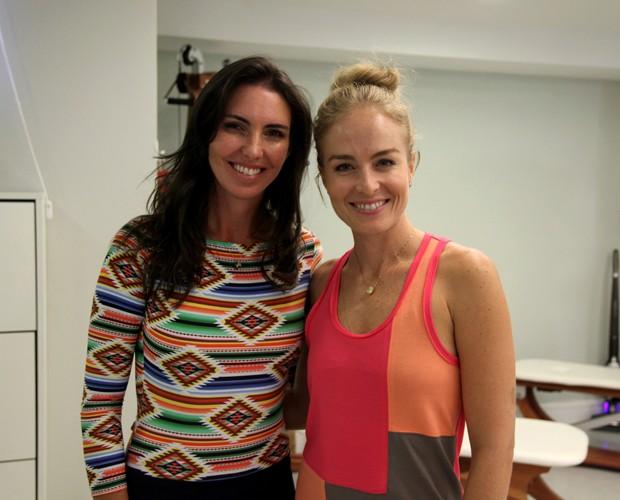 No final do treino, apresentadoras se mostram satisfeitas (Foto: TV Globo/Carol Caminha)