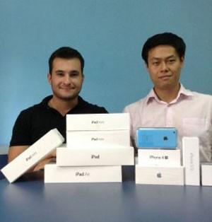 Bruno Henrique Fuschi e Eric Fuzintano, da Brushed, startup que compra e revende aparelhos usados da Apple.