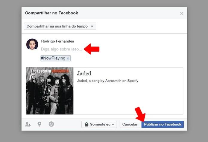 Compartilhe uma música do Spotify no Facebook (Foto: Reprodução/Rodrigo Fernandes)