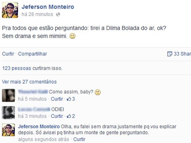 Post de Jefferson Monteiro no Facebook (Foto: Reprodução / Facebook)