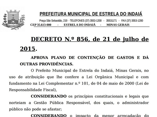 Decreto determina medidas de contenção de gastos em Estrela do Indaiá (Foto: PMEI/Divulgação)